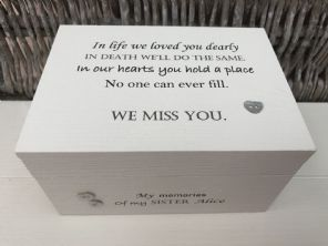 Personalised  In Memory Of Box Loved One ~ SISTER ~ any Name Bereavement Loss - 332624090434